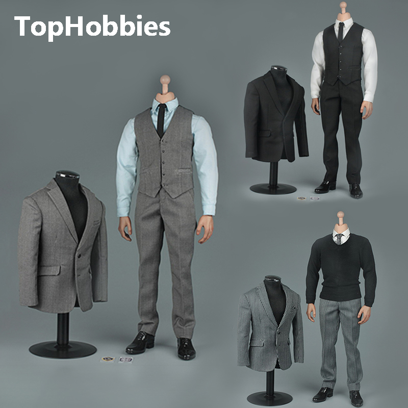 VORTOYS V1005 1/6 The British Gentleman Suit 2.0 In A Black/B Gray/C Stripe for 12 Beckham Collectible Action Figure DIY