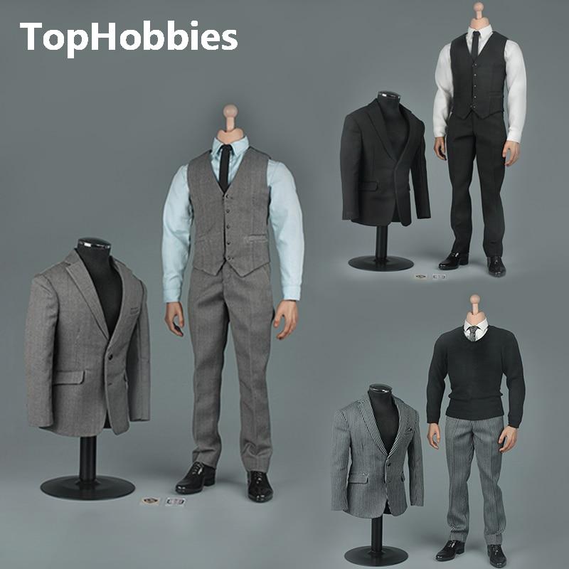 """Oyuncaklar ve Hobi Ürünleri'ten Aksiyon ve Oyuncak Figürleri'de VORTOYS V1005 1/6 İngiliz Beyefendi Takım Elbise 2.0 Siyah Bir/B Gri/C Şerit için 12"""" beckham Tahsil Action Figure DIY'da  Grup 1"""