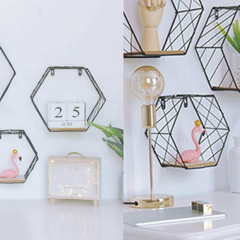 Wrought Iron Hexagonal Grid Wall Shelf Black Grid Style Small (no Backboard) Home Garden Decoration Crafts