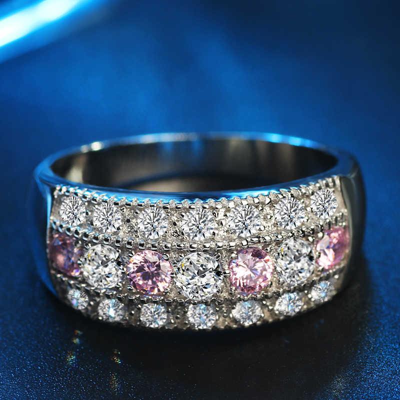 สีชมพูคริสตัลแหวนหมั้นคริสตัลแหวน AAA CZ หินแหวน Zircon Party ของขวัญเครื่องประดับ anillos mujer