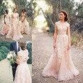 Роскошный 2016 розовые свадебные платье-линии V шеи кружева свадебное платье рукавом тюль аппликациями элегантные свадебные платья