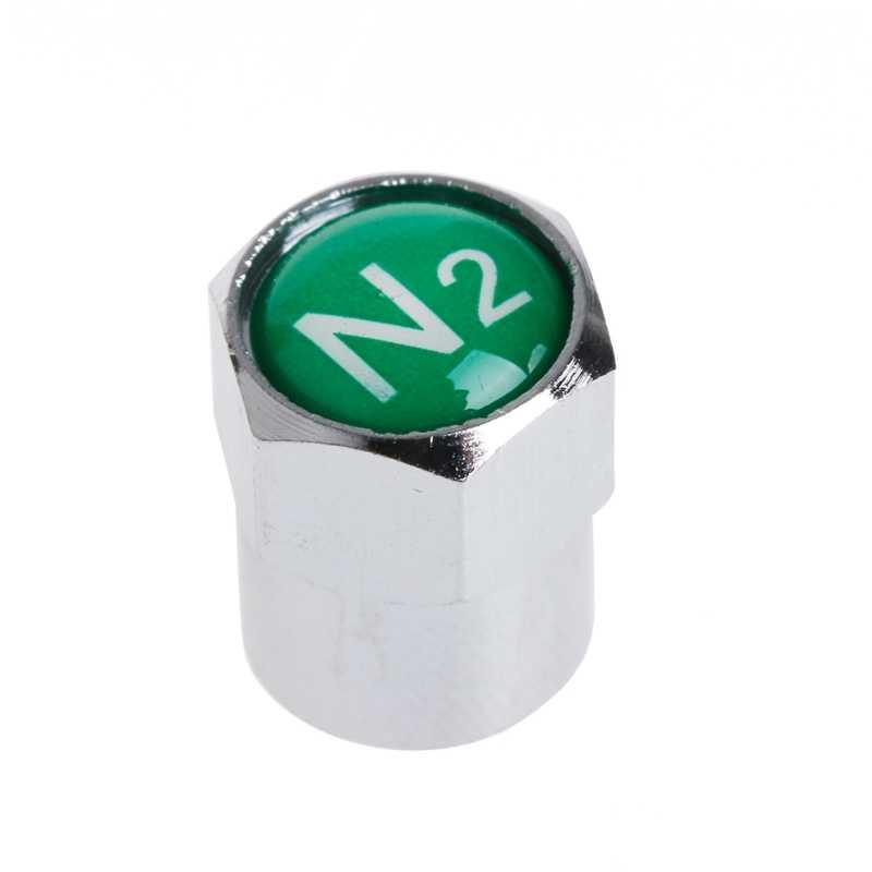 NoEnName_Null 2Pcs/Set Chrome Car Auto TPMS Valve Stem Caps N2 Nitrogen Tire Insert Cover #1