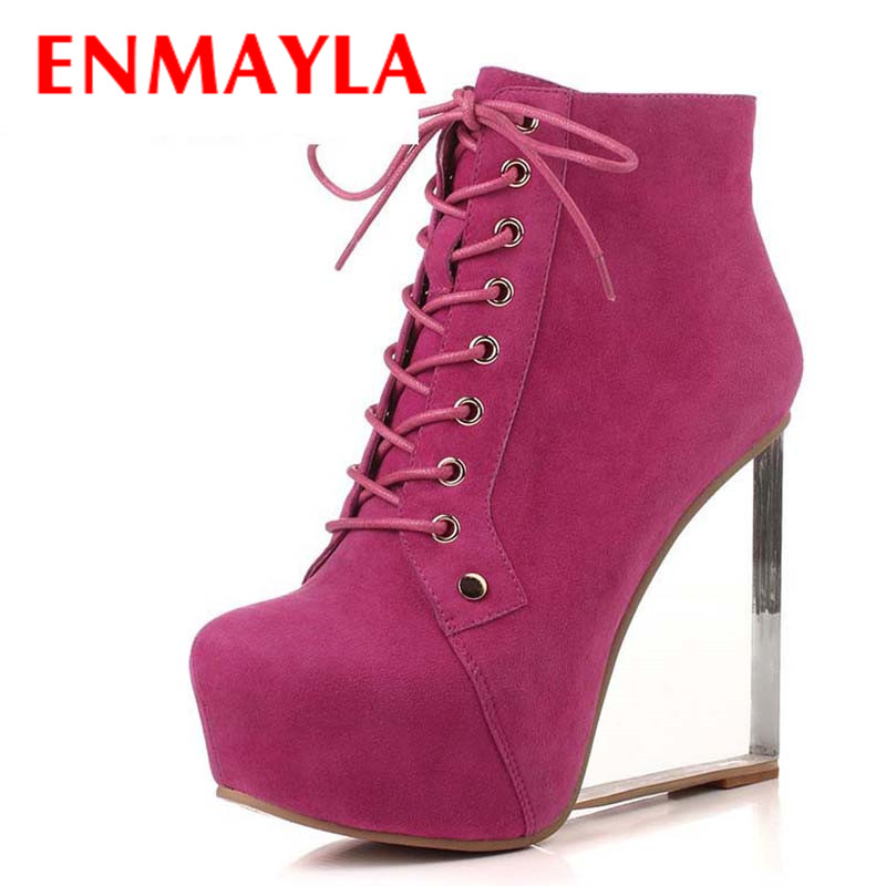 ENMAYLA Motorcycle boots Transparent Wedges Women Boots Shoes New Ankle Boots Lace-Up Fashion Round Toe High Boots Hot Martin