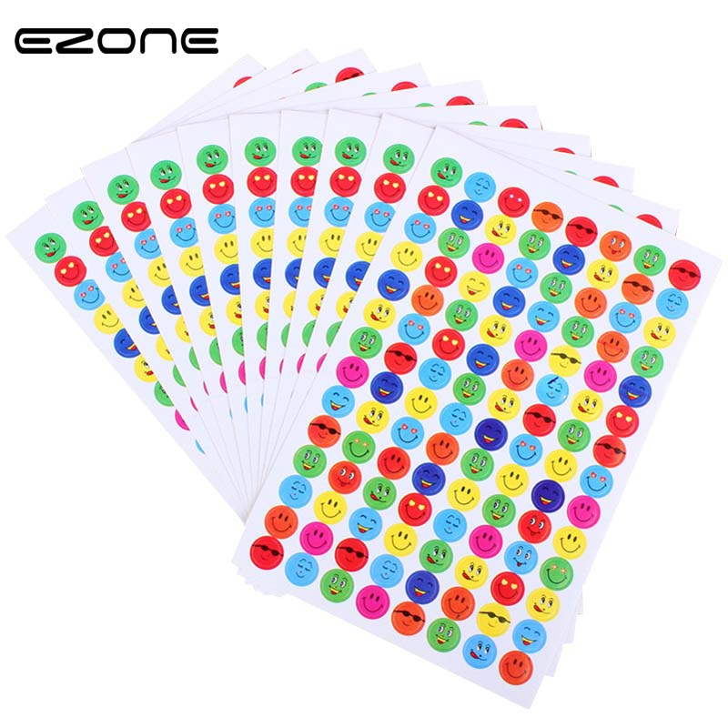 EZONE 10pcs/Set Small Smiley Face Sticker Students Award Teaching Sticker Cute Stationery Decorative Stickers School Supplies