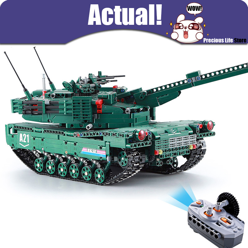 New Remote Control Block Tank with Motor Building Blocks Bricks legoingly Military War M1A2 1498PCS DIY Enlighten Toys for boys 8 in 1 military ship building blocks toys for boys