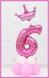16 шт./упак. розового и голубого цвета для детей 0-9 цифры Большие Гелиевые номер Фольга детей фестивалей Dekoration День рождения шляпа игрушки для детей