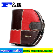 New Fashion Women Purse Plaid Stitching Split Leather Ladies Wallet Female Short Women's Wallets