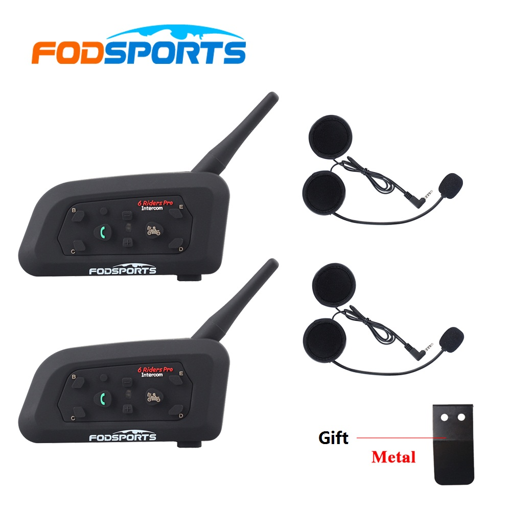 Fodsports 2pc V6 Pro Interphone moto casque Bluetooth casque Interphone 6 cavalier 1200M étanche BT Interphone