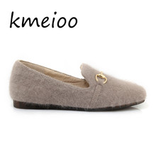 kmeioo Cute Plush Winter Shoes Women Warm Peluche Ballet Flats 2018 Designer Furry Casual Woman Outdoor Loafers