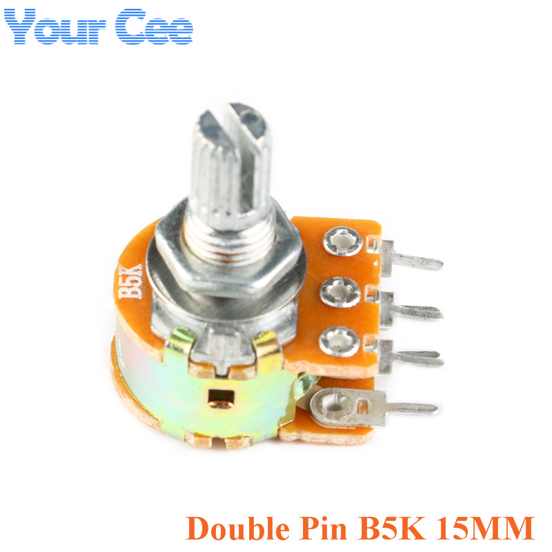 10PCS B10K Dual Stereo Potentiometer Pots Shaft S 15mm 6Pin NEW