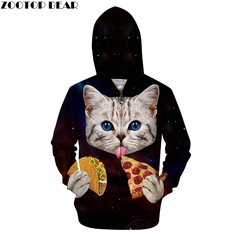 Hot Sale Cat Pizza Zipper Hoodie Men Women Zipper Cardigan Sweatshirt Brand Male Hoodie  ...