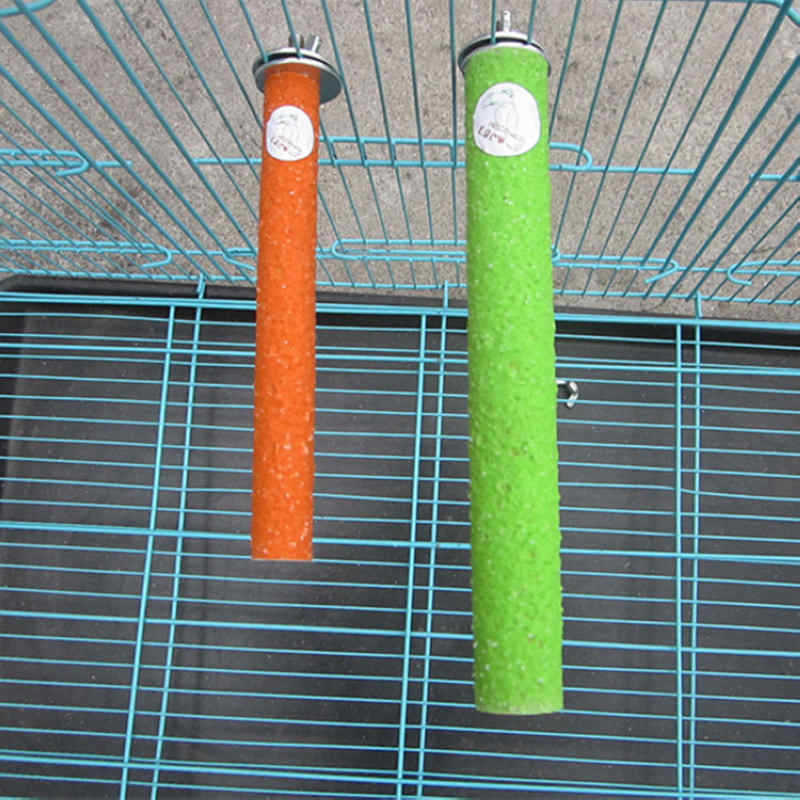 ペットの鳥ケージパーチスタンドプラットフォーム 10-18 センチメートル足研削オウムインコスパイラル研削爪ロッドスタンドバー 7A0326