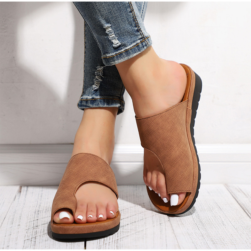HTB1pOfIawKG3KVjSZFLq6yMvXXaw MCCKLE Women Comfy Plain Shoes Flat Platform Ladies Casual Big Toe Foot Correction Sandals Orthopedic Bunion Corrector Flip Flop