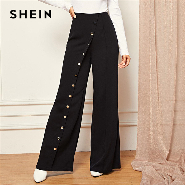 SHEIN Black Office Lady Snap Button Front Wide Leg Pants Full Length Solid Pants Women 2019 Spring Casual Workwear Trousers
