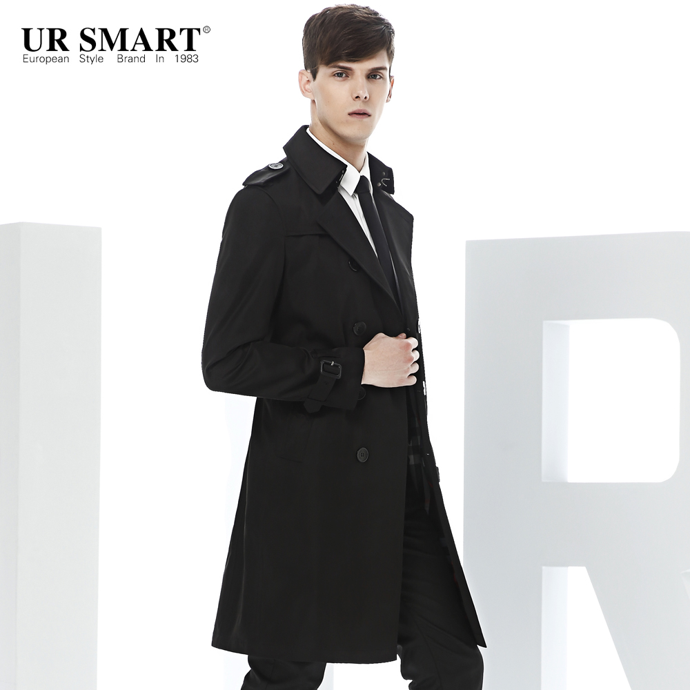 f9bb9cfdf5ec6 URSMART windbreaker male long double-breasted trench coat black men fall new  trenches long trench