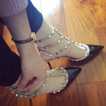 2017 New Stylish Woman Low heeled Shoes sexy Pointed Toe rivets Pump Woman With Three Straps
