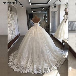 Image 2 - Роскошные свадебные платья Robe De Mariee 2019 бальное платье с открытыми плечами кружевные свадебные наряды Vestidos De Noiva