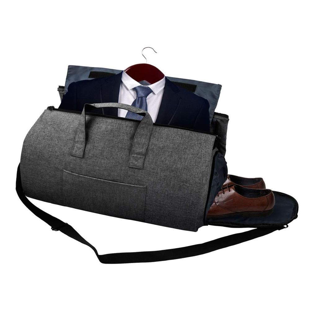 Foldable Suit Travel Bag Duffle Bag,Carry On Hand Luggage Bag Suitcase Big Duffel Bag With Shoe Compartment For Suit And Dress