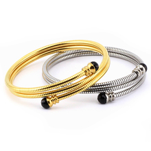 Stainless steel elastic bracelet women's snake chain spring wire bracelet bangles titanium steel multi - ring gold bracelet new arrival spring wire line colorful titanium steel bracelet stretch stainless steel cable bangles for women