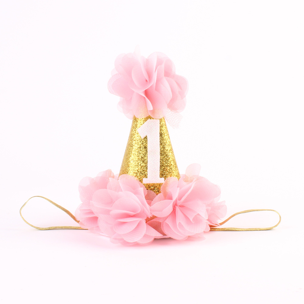 First Birthday Crown Headband For Girl Hair Accessories Party Cone Gold Hat With Chiffon Flower 240pcs In From Mother