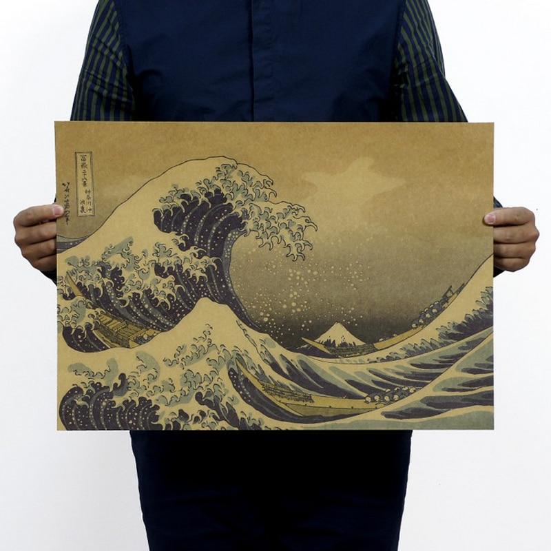 Doprava zdarma, Kanagawa Japonsko Ukiyoe / Kraftový papír / barový plakát / Retro plakát / dekorativní malba 51x35.5cm