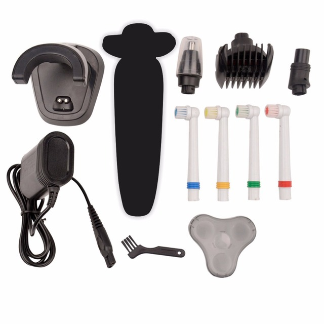 Kemei Men's Electric Shaver 4 in 1 Washable Rechargeable Razor 4D Shavers With Hair Clipper+Nose Ear Trimmer+Toothbrush