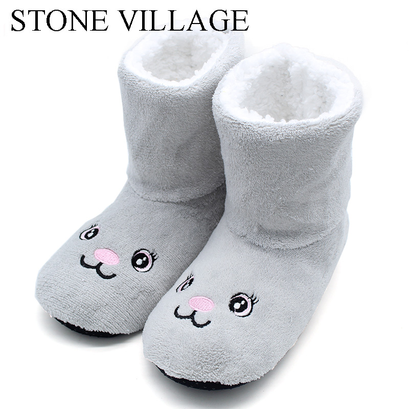 STONE VILLAGE New Cotton Home Slippers Women Indoor Floor Flat Shoes Winter Slipper For Women Warm Non-Slip Shoes