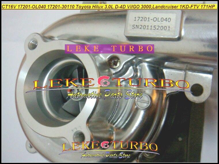 Free Ship CT16V 17201-OL040 17201-30110 Turbo Turbocharger For TOYOTA Landcruiser HI-LUX  Hilux ViIGO 3000 1KD-FTV 1KD 3.0L D-4D free ship turbo cartridge chra ct16v 17201 ol040 17201 30110 turbocharger for toyota landcruiser hilux viigo 3000 1kd ftv 3 0l d