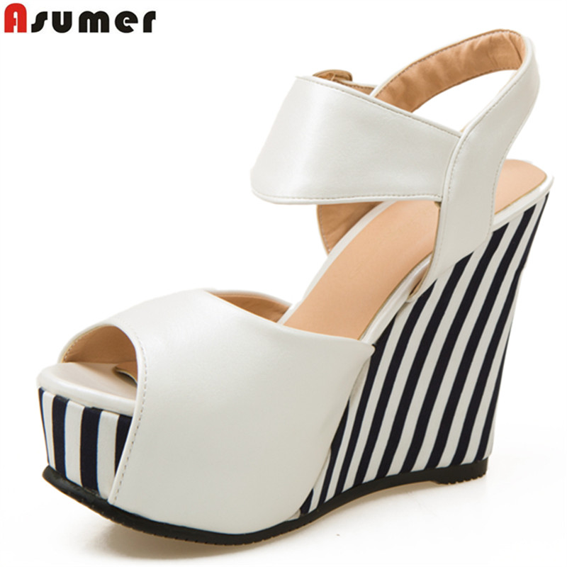 Asumer 2018 wedges shoes peep toe buckle strap soft pu leather platform casual summer shoes woman fashion ladies sandals