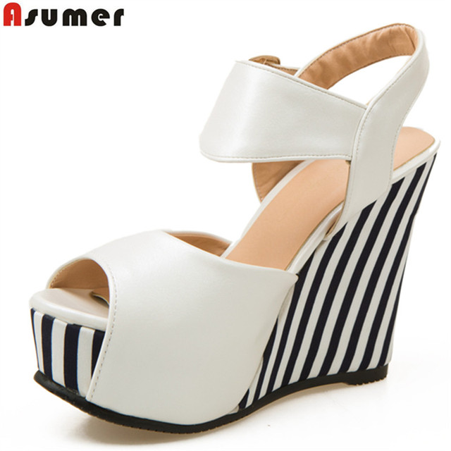 976055b5e634 Asumer 2018 wedges shoes peep toe buckle strap soft pu leather platform casual  summer shoes woman