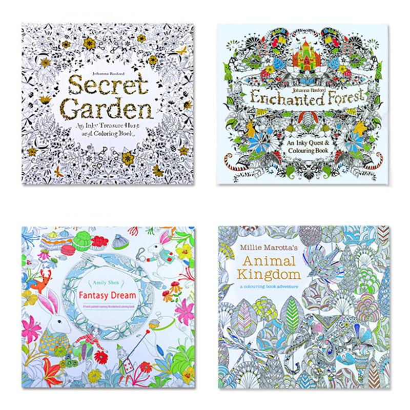 The Secret Garden 4pcs English Edition Coloring Book For Adult Kids Antistress Mandala Quiet Color Drawing 24pages 18.5*18.5cm