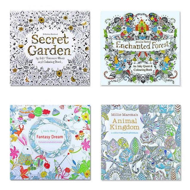 The Secret Garden 4 шт. Английское Издание Книжка-Раскраска для Взрослых Детей Антистресс Мандала Тихо Цвет Рисунок 24 страниц 18.5*18.5 см