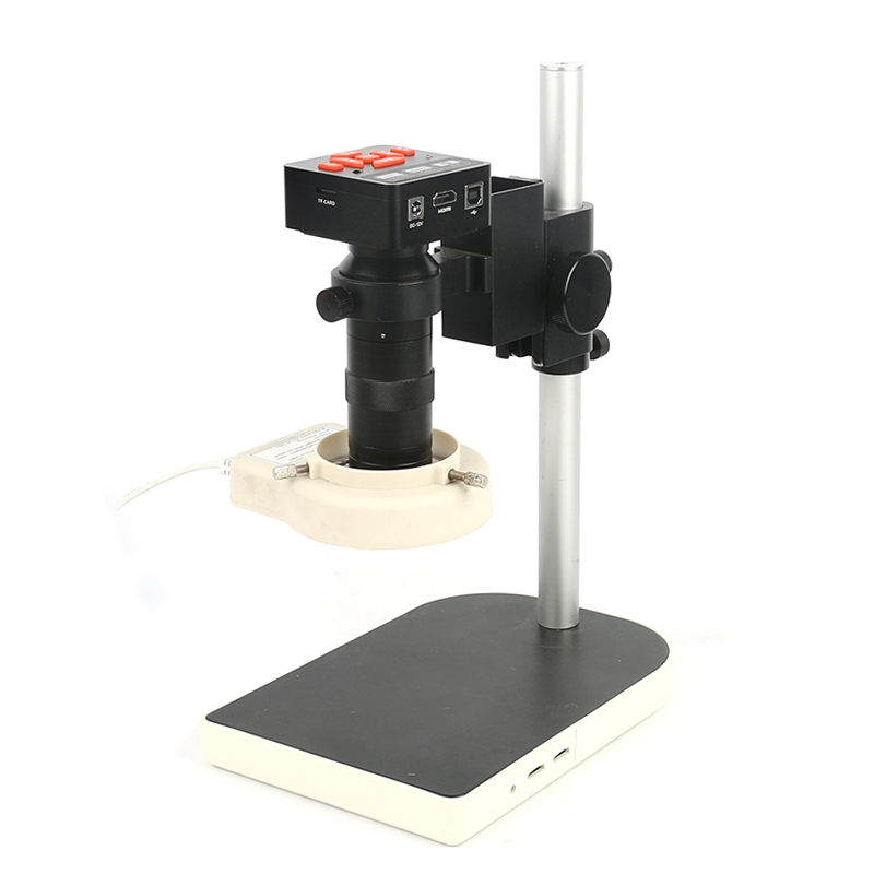 20MP 1080P Full HDMI HD 60F/S High Speed Video Indusry Lab Microscope Camera + 130X C-Mount Lens +Big Stand +144 LED Ring Light 130x c mount lens 16mp hd 1080p cmos hdmi microscope camera with ir remote control led ring light stand