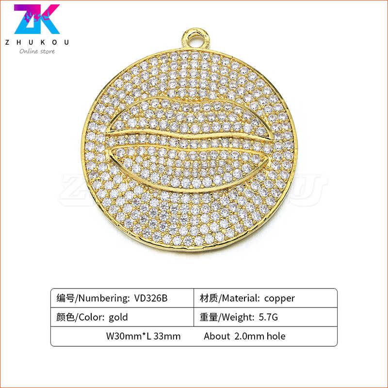 30*33 ミリメートルスパークリングリップ形状ジュエリーメイキング Diy ジュエリーネックレス真鍮マイクロパヴェキュービックジルコニアモデル: VD326