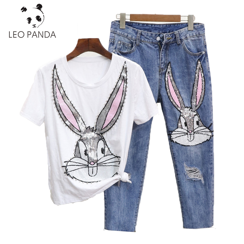 ffdeb78b1829 Summer Casual Women Diamond Floral Print T Shirt Ripped Denim Cropped  Trousers Fashion Girl Suit Two-piece (Tees+Jeans Pants)