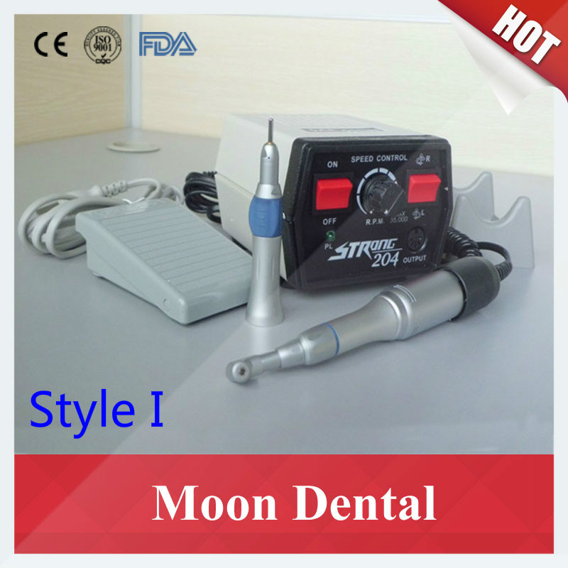 Dental Lab 35K RPM Strong 204+108E Polisher Micromotor with New or Traditional Style 1:1 Contra-angle&Straight Handpiece dental lab polisher micromotor hand piece 35000 rpm for electric polisher strong 90 108e contra angle machine