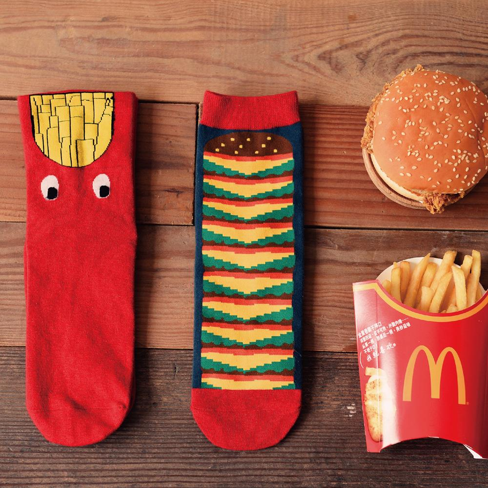 Novelty Cute Fashion Funny Chips Hamburger Printing Cotton Men Socks Casual Originality Red Calcetines Mujer Meias