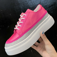 Moxxy 2018 Ladies Shoes Platform Shoes Sneakers Women Autumn Shoes Women Flats Lace Up Pink White Sport Casual Zapatos Mujur