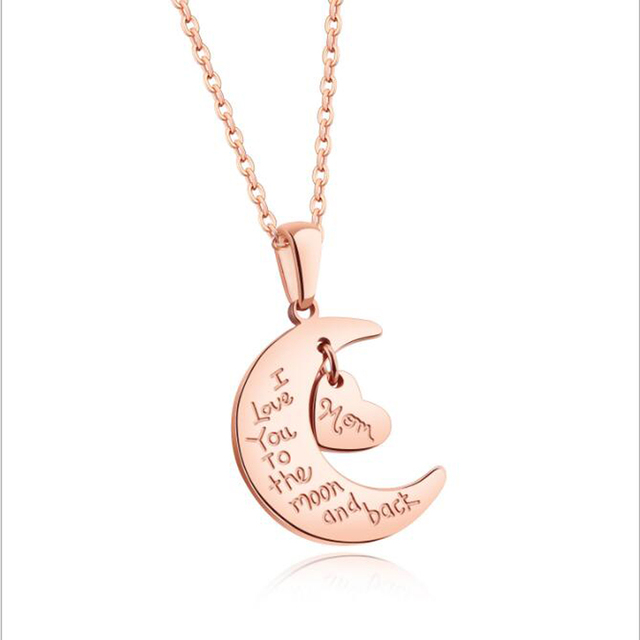 Bulgaria romantic stainless steel necklaces love heart moon pendants bulgaria romantic stainless steel necklaces love heart moon pendants rose gold color short necklace fashion jewelry mozeypictures Choice Image
