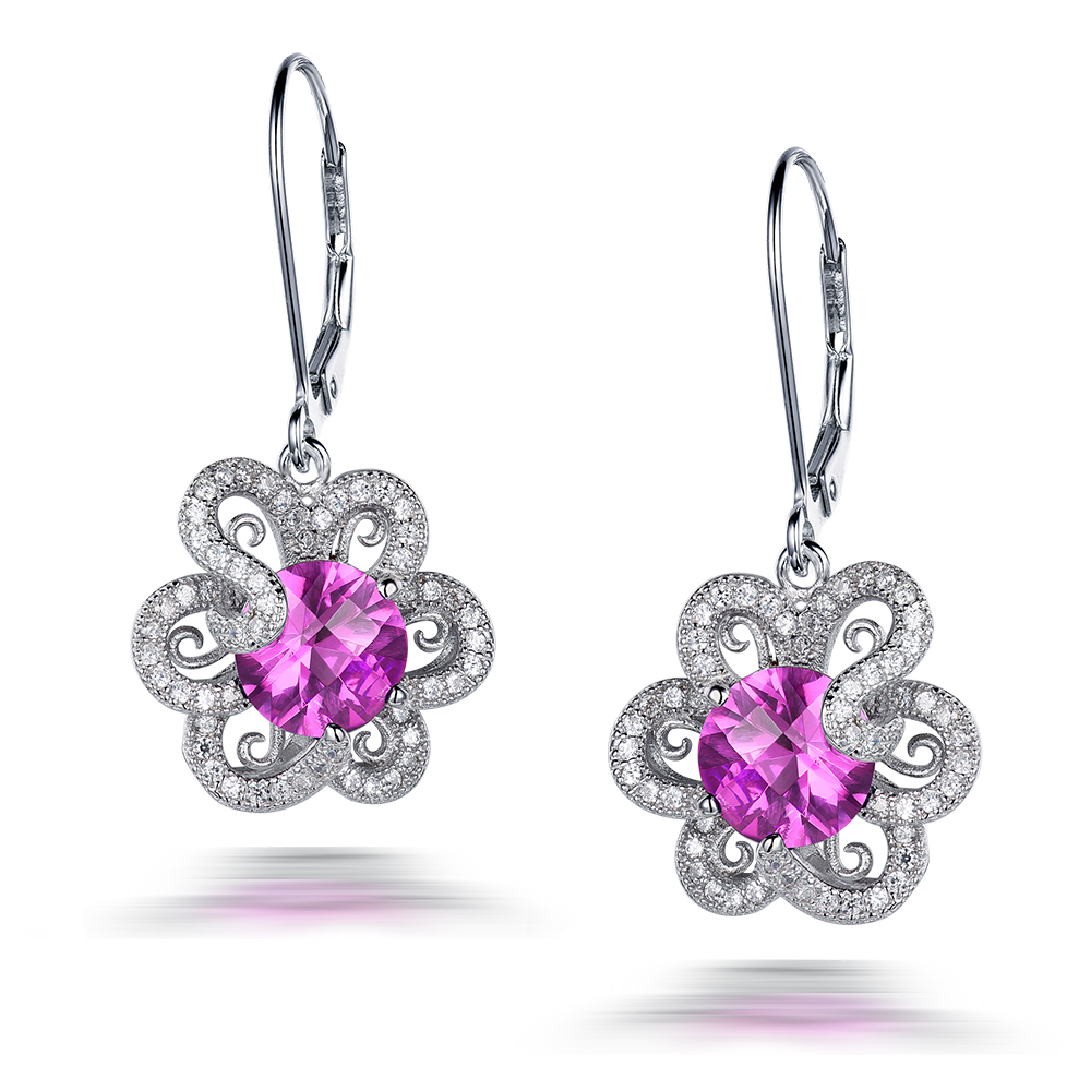 Здесь можно купить  l&zuan 100% 925 Sterling Silver Drop Earrings 4.32ct Pink Stone Flower Luxury Earrings Fine jewelry For Women  Ювелирные изделия и часы
