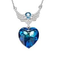 Panda100 Women Necklace Pendant Embellished with crystals from Swarovski Necklace Angel Wings Heart Pendant Necklace Valentines