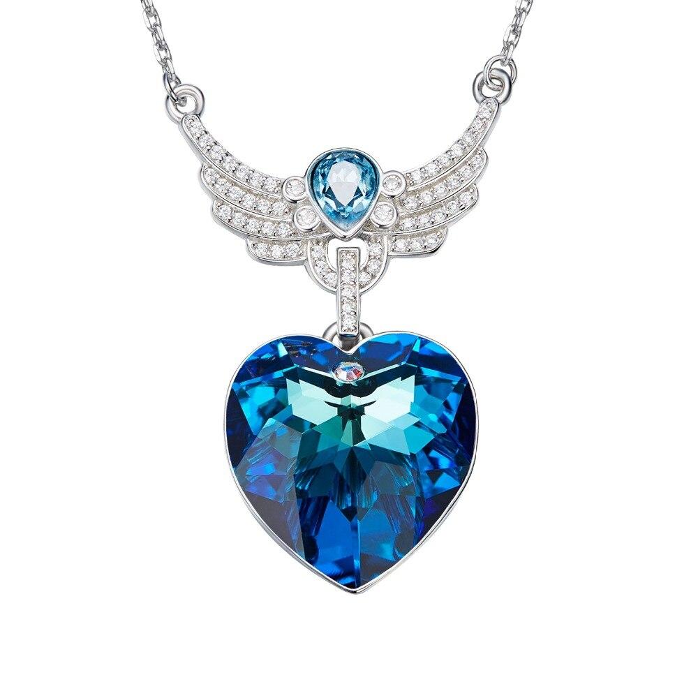 Panda100 femmes collier pendentif orné de cristaux de Swarovski collier ailes d'ange coeur pendentif collier Valentines