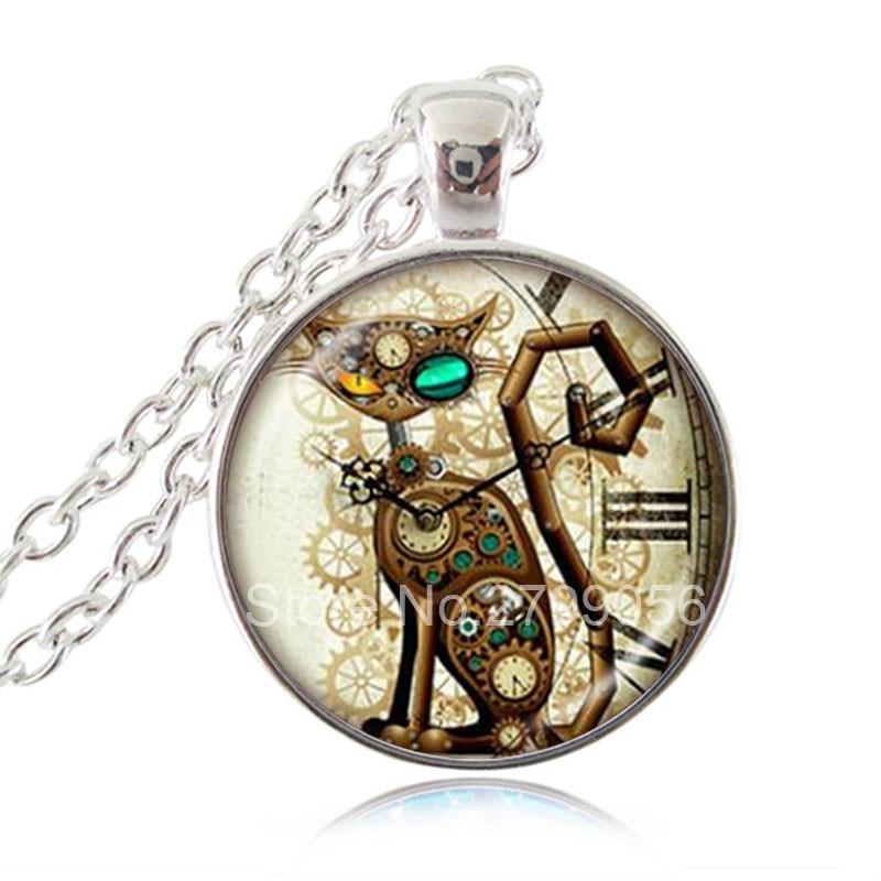 Family Decor Mandala Pendant Necklace Cabochon Glass Vintage Bronze Chain Necklace Jewelry Handmade