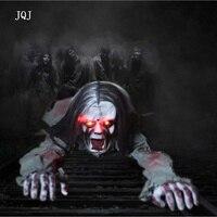 JQJ Eletronic Sound Long Hair Crawling Ghost Halloween Party DIY Horror Backprop Decorations Bars KTV Terrorist
