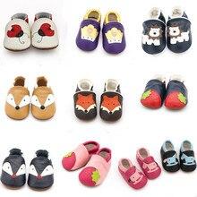 Новинка года; нескользящая детская обувь с изображением лисы; мягкие мокасины из натуральной кожи для маленьких мальчиков и девочек; обувь для малышей; тапочки для первых шагов