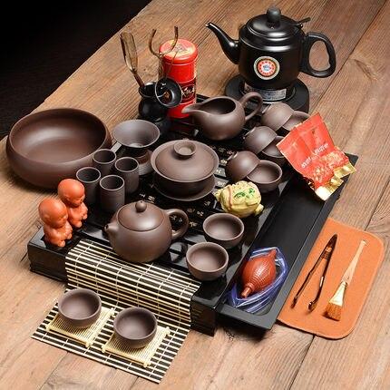 Chaud!! Ensembles de thé chinois kung fu, plateau de thé en bois entier chine thé cérémonie salon table Kung Fu accessoires de thé