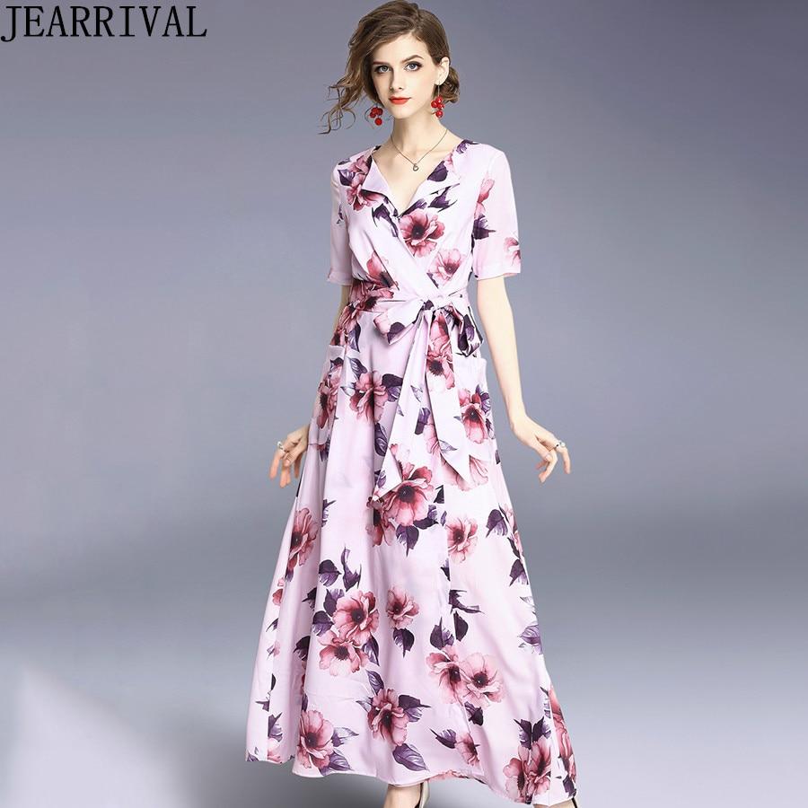 2018 New Fashion Wrap Long Summer Dress Women's Short Sleeve V-Neck Floral Vintage Casual Beach Chiffon Maxi Dress Vestidos