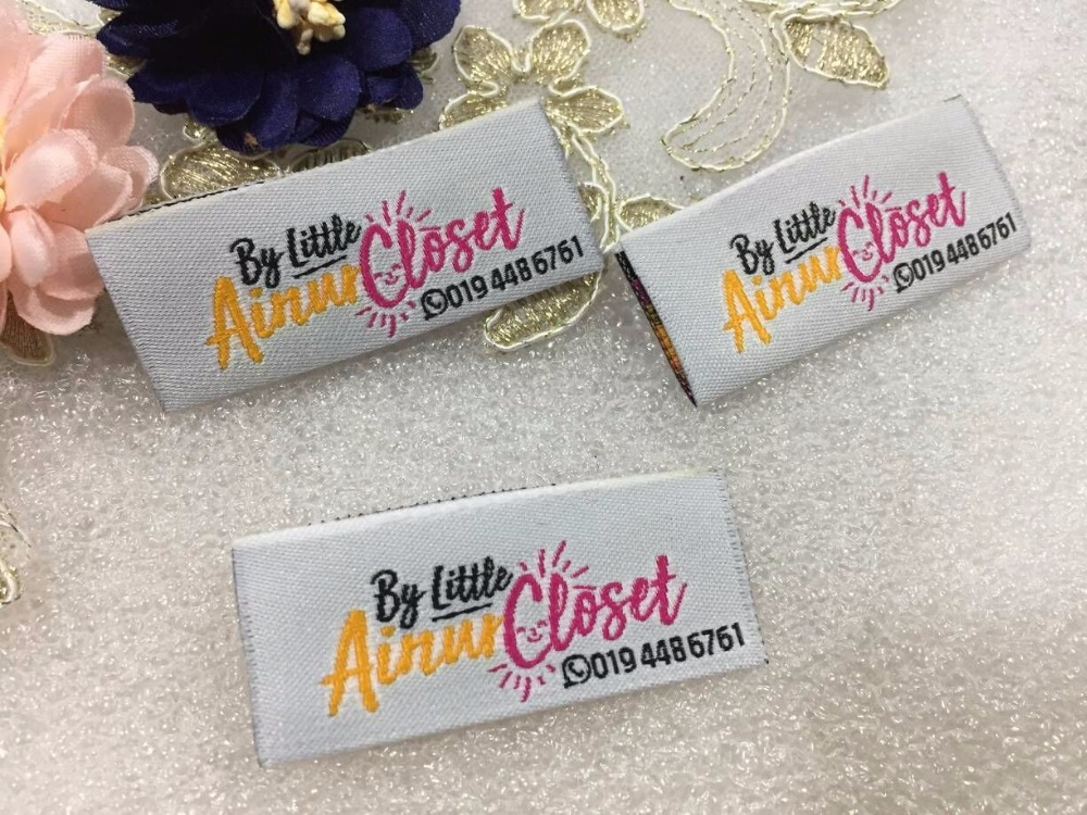 Free shipping Customized garment clothing tags Woven Labels custom clothing labels main labels damask label