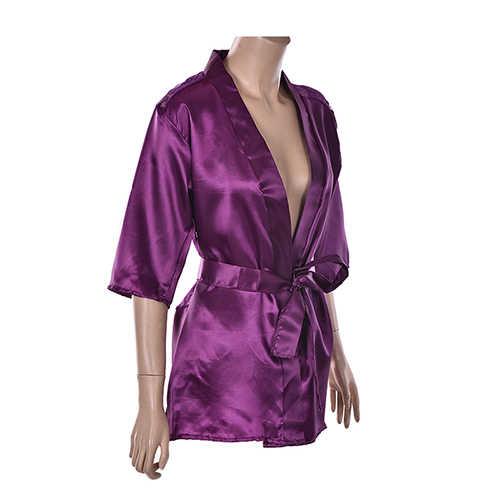 03cf33ba6c ... 2018 New Fashion Sexy Silk Lace Lingerie Black Kimono Intimate  Sleepwear Robe Night Gown Black Purple ...