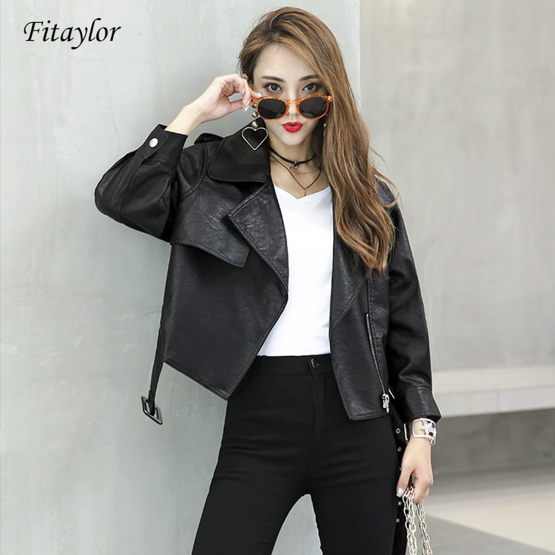 Fitaylor Women   Leather   Jacket Coat With Belt Slim Short Motorcycle Faux Pu Jacket Female Outerwear Short Slim   Leather   Coat